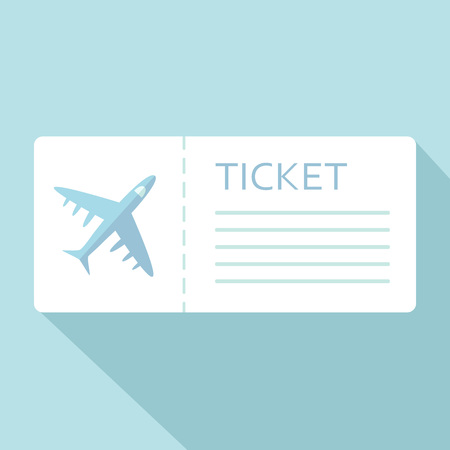 Airline boarding pass ticket for traveling by plane over blue. Vector illustration Illustration