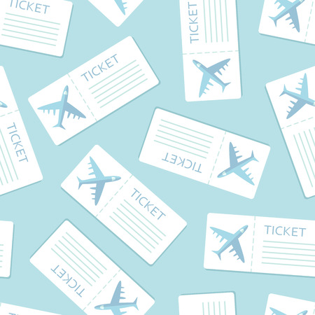 Airline boarding pass seamless pattern over blue. Vector illustration