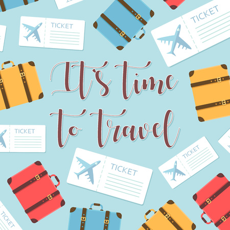 Its time to travel motivational greeting card with plane tickets and luggage. Vector illustration