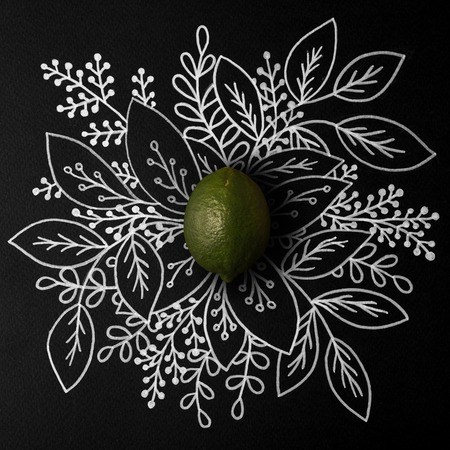 Lime over outline floral hand drawn background