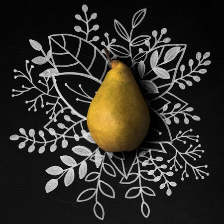 Pear over outline floral hand drawn background
