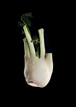 Fresh garlic isolated over black background