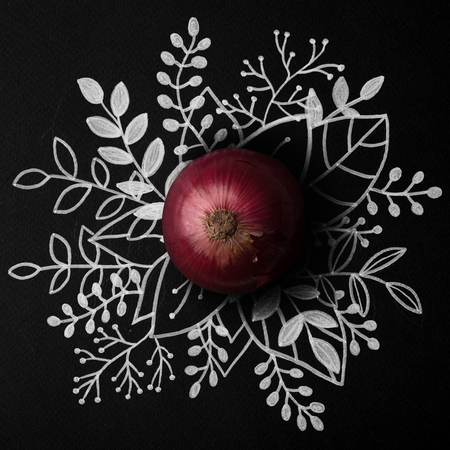 Red onion over outline floral hand drawn background Banco de Imagens - 91707180
