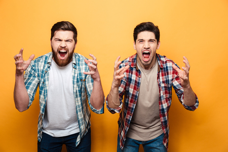 Portrait of a two angry young men shouting loud isolated over yellow background 写真素材
