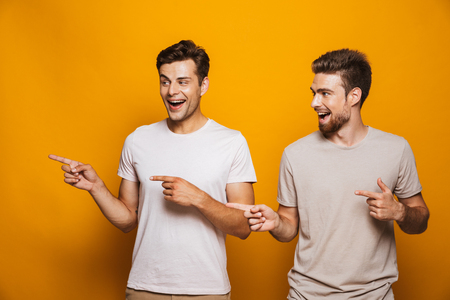 Portrait of a two happy young men best friends pointing fingers away at copy space isolated over yellow background