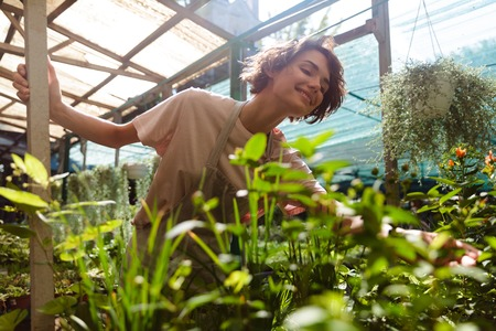 Image of beautiful cute woman gardener standing over plants in greenhouse water flowers Standard-Bild - 108838744