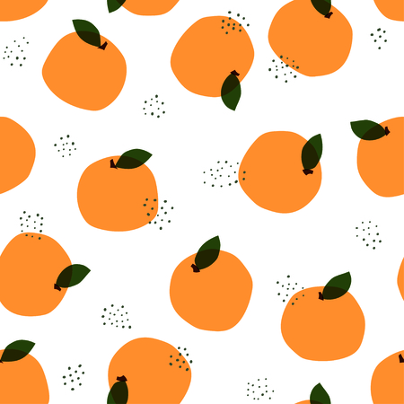 Orange pattern. Seamless decorative background with oranges. Bright summer design
