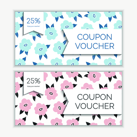 Coupon voucher template with floral abstract modern pattern. Vector illustration Foto de archivo - 130059465