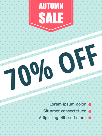 Up to 70% off Sale. Big Blue Sale banner. Autumn sale. Vector illustration Фото со стока - 130059469