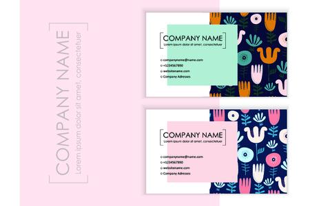 Floral business card design set.