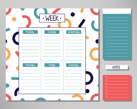 Weekly planner with modern geometrical elements. Schedule design template 向量圖像