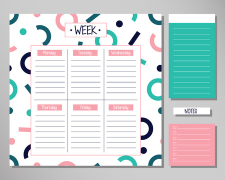 Weekly planner with astract geometrical elements. Schedule design template