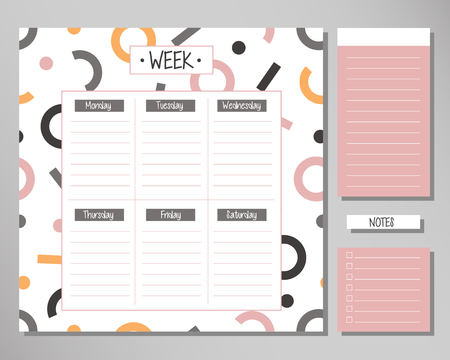Weekly planner with geometrical elements. Schedule design template
