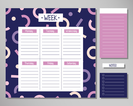 Weekly planner with modern abstract elements. Schedule design template