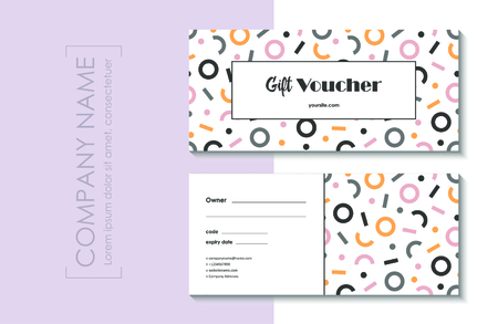 Gift voucher template with abstract modern pattern.