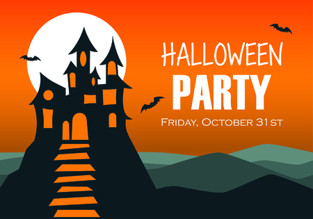 Halloween night background with haunted house and full moon. Flyer or invitation template for Halloween party. Vector illustration Ilustracja
