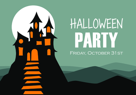 Halloween night background. Flyer or invitation template for Halloween party. Vector illustration