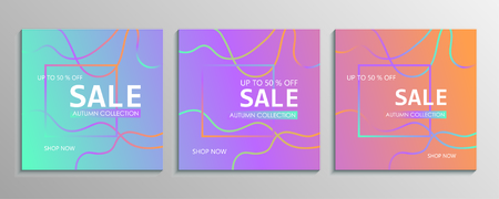 Set of colorful discount offer price signs. Special offer symbol. Autumn collection sale Foto de archivo - 130059509
