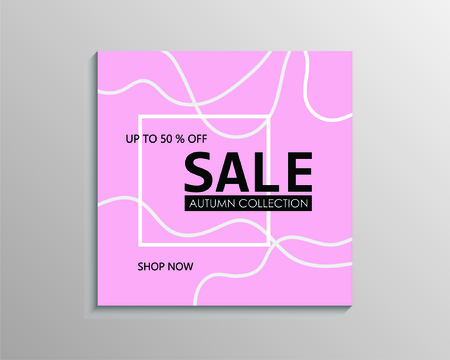 Up to 50 % off Sale. Pink discount offer price sign. Special offer symbol. Autumn collection sale Иллюстрация