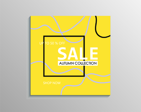 Up to 50 % off Sale. Yellow discount offer price sign. Special offer symbol. Autumn collection sale Фото со стока - 130059511