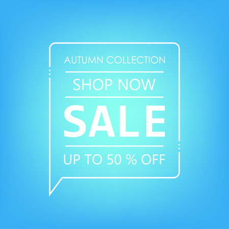 Up to 50% off Sale. Shop now. Autumn collection. Vector illustration