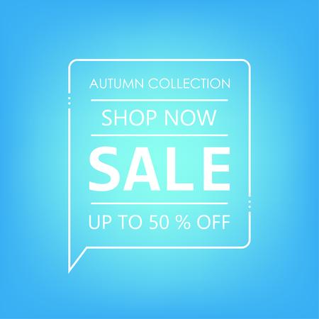 Up to 50% off Sale. Shop now. Autumn collection. Vector illustration Foto de archivo - 130059513