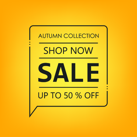 Up to 50% off Sale. Shop now. Autumn collection. Yellow background. Vector illustration