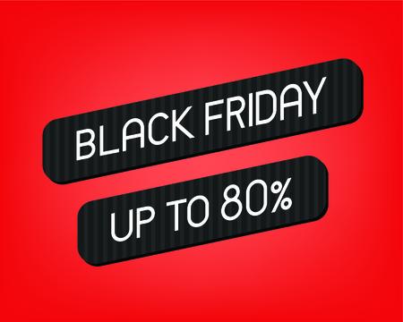 Black Friday Sale Banner template over red background. Vector illustration Illusztráció