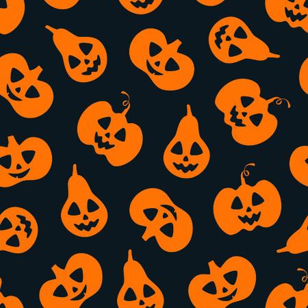 Friendly orange pumpkin seamless pattern over black. Halloween concept Zdjęcie Seryjne - 130059521