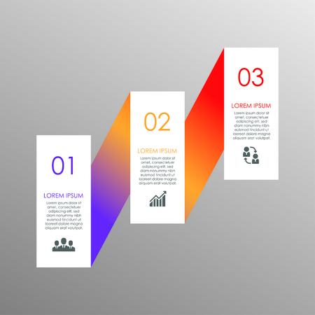 Stijlvolle kleurrijke elementen voor zakelijke infographics. Sjabloon voor diagram, grafiek, rapport, presentatie, grafiek, webdesign. 3 stappen, onderdelen, opties, fasen Vector Illustratie