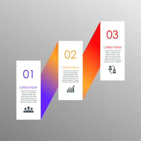 Stylish colorful elements for business infographics. Template for diagram, graph, report, presentation, chart, web design. 3 steps, parts, options, stages