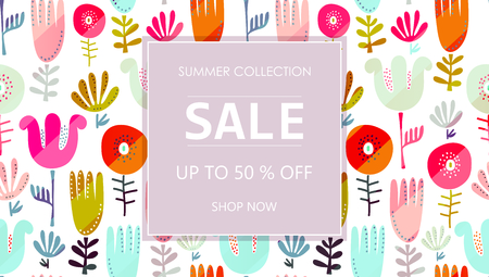 Up to 50 % off Sale. Special offer symbol. Summer collection sale. Shop now. Abstract floral background