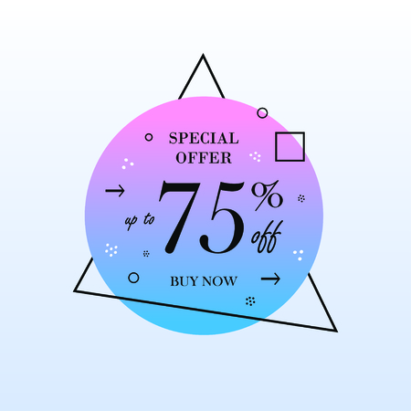 Up to 75% off Sale. Special offer banner. Buy now. Vector illustration