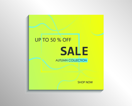 Up to 50 % off Sale. Green discount offer price sign. Special offer symbol. Autumn collection sale Фото со стока - 130059538