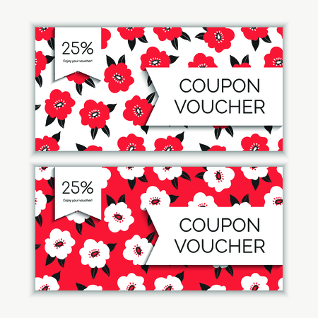 Coupon voucher template with abstract flowers modern pattern. Vector illustration