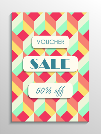 Sale voucher template with abstract figures modern pattern. Vector illustration