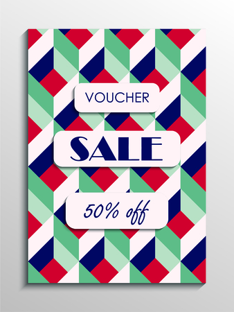 Sale voucher template with abstract modern pattern. Vector illustration