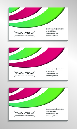 Business card templates with modern colorful abstract background. Vector illustration  イラスト・ベクター素材