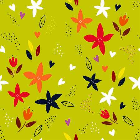 Abstract colorful plant seamless pattern over green background. Trendy creative vector