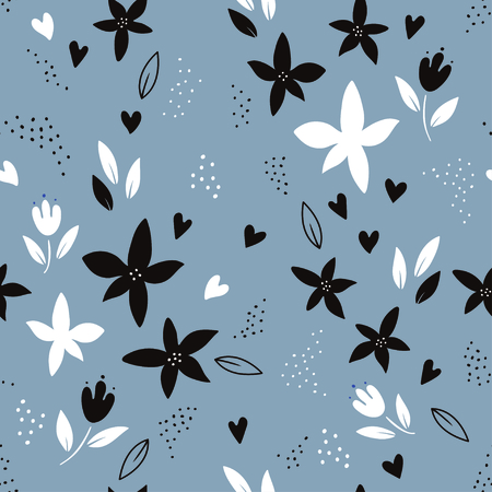 Abstract colorful plant seamless pattern over gray background. Trendy creative vector