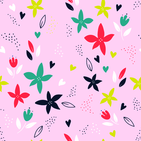 Abstract colorful plant seamless pattern over pink background. Trendy creative vector
