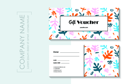 Gift voucher template with abstract floral modern pattern. Illustration