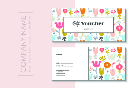 Gift voucher template with cute floral modern pattern. Illustration