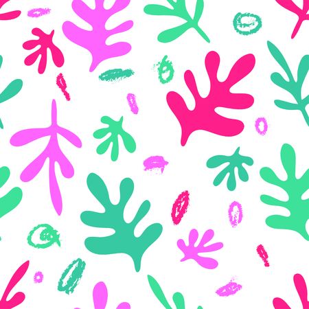 Abstract colorful plant seamless pattern over white background. Creative vector