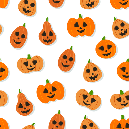 Friendly orange pumpkin seamless pattern. Halloween concept Zdjęcie Seryjne - 130059563