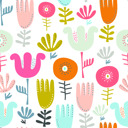 Abstract bright floral pattern background. Vector illustration