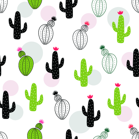 Cute green cactus seamless pattern. Vector illustration Stock Illustratie