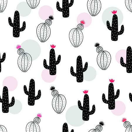 Cute black cactus seamless pattern. Vector illustration