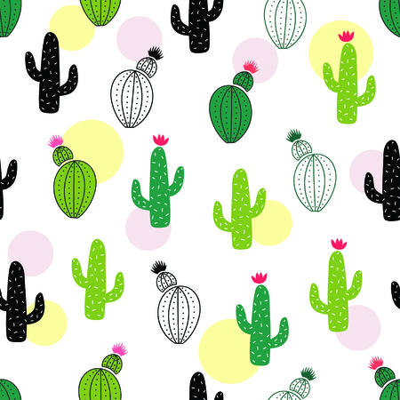 Cute green cartoon cactus seamless pattern. Vector illustration Stock Illustratie