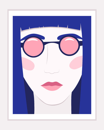 Close up slim woman in sunglasses in frame. Vector illustration  イラスト・ベクター素材
